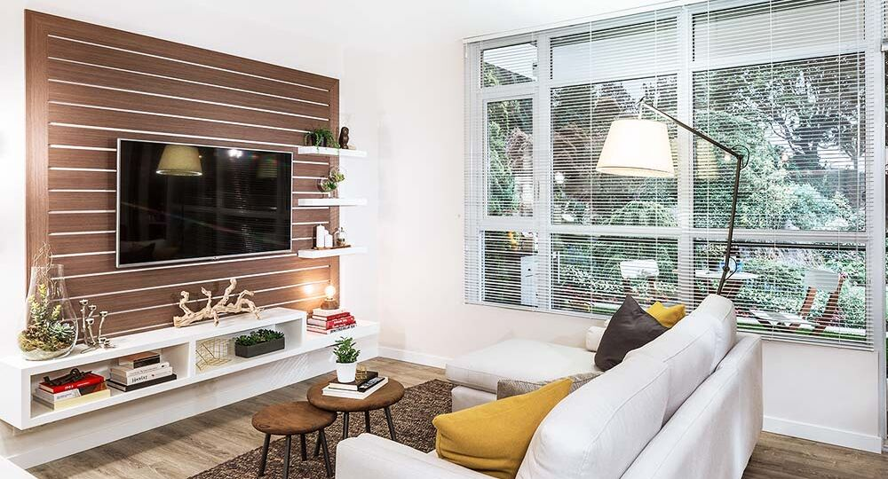 Modern condo style residential living room
